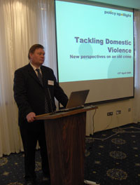 Hamish gives many lectures to domestic violence conferences