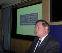 Giving a talk at New Scotland Yard, he regularly speaks to police audiences.